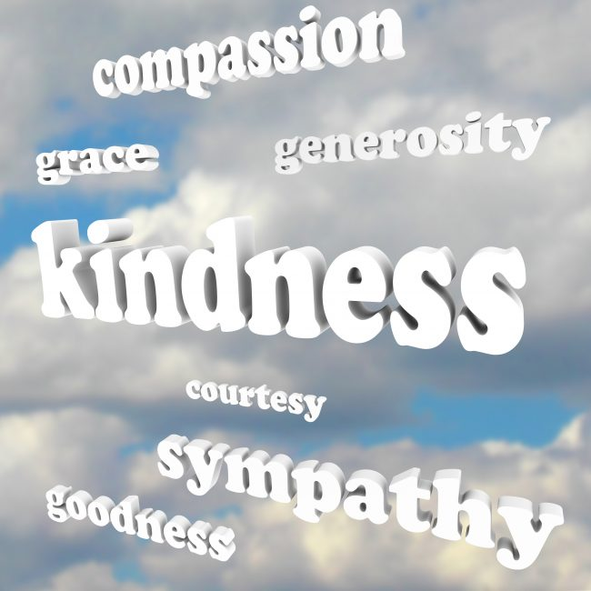 The word Kindness floating in a blue, cloudy sky, with related words and terms such as grace, compassion, generosity, sympathy, goodness and courtesy